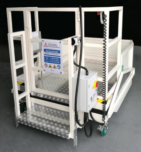 Bombardier box central lifting work platform